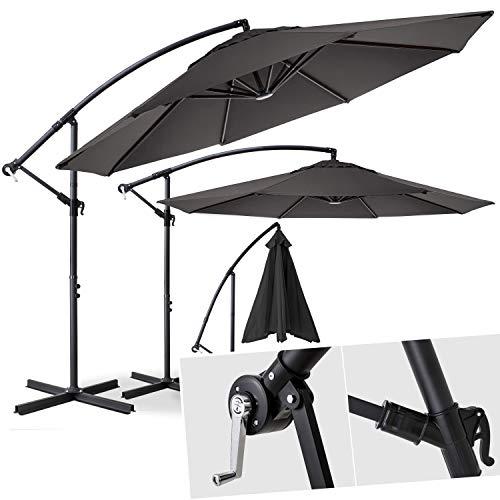 Kesser® Alu Ampelschirm Ø 300 cm ✔mit Kurbelvorrichtung ✔UV-Schutz ✔Aluminium ✔Wasserabweisende Bespannung - Sonnenschirm Schirm Gartenschirm Marktschirm Grau