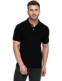 CHKOKKO Two Button Half Sleeves Polo Cotton T Shirt For Men