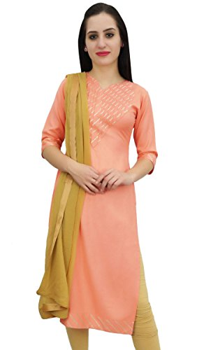 Atasi Gotta Patti Arbeit Pfirsich Rayon Gerade Kurti Indische Frauen Casual Kleidung-42