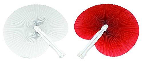 100 pezzi ventaglio 50 ventagli Rossi 50 ventagli Bianchi (24cm -26 cm) ideale come gadgets, bomboniera per matrimoni,comunioni,cresime eventi,feste