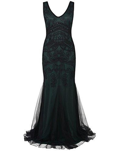 Kayamiya Damen 1920er Maxi Lange Meerjungfrau Formelle Gatsby Flapper Abendkleid S Grün