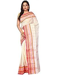 B3Fashion Women's Bengal Tant Cotton Saree (Ags666,Off White,Free Size)