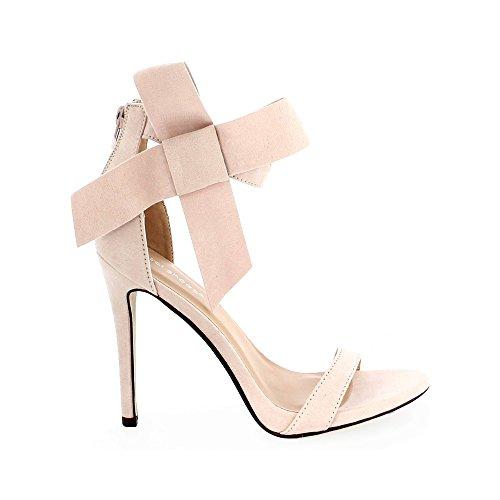 Ideal Shoes Sandales Ouvertes avec Nœud Sophiana Rose