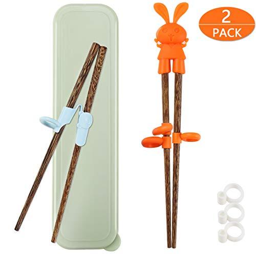 TOTKEN Essstäbchen für Kinder, 2 Paar Training/Lernen Holz Essstäbchen für Anfänger Rechts- oder Linkshänder mit tragbarer Box