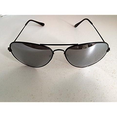 Marco negro lentes de espejo Top Gun estilo aviador gafas de sol unisex Espejo Wayfarer Gafas de moda tonos elegante mundo ojo