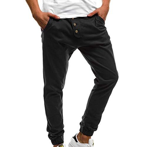 KPILP Mode für Männer Herbst Draußen Arbeit Sport Große Größe Pure Farbe Taste Lässig locker Jogginghose Kordelzug Harem-Hoseuff08Schwarz, 4XL