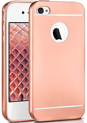 moex iPhone 4S | Hülle Silikon Rose-Gold Smooth Back-Cover Chrom Matt Silikonhülle Ultra-Slim Schutzhülle Metallic Handy-Hülle für iPhone 4/4S Case Dünn (Handy-zubehör Für Iphone 4s)