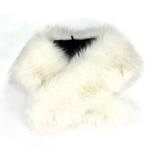 Malloom® hiver renard faux col de fourrure écharpe châle enveloppement's cols femmes volé foulards Blanc