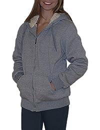 S&LU tolle warme Damen Fell-Sweatjacke mit Kapuze UNI in schönen Farben Größe S-XXL (2XL)