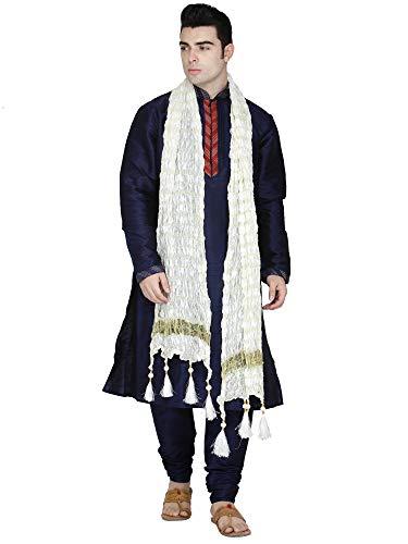 SKAVIJ Kurta Pajama Stola 3 Stück Set Men indisch Langarm Hook & Eye Hemd Schwarz Designer Traditionelle Casual Wear Outfit -M