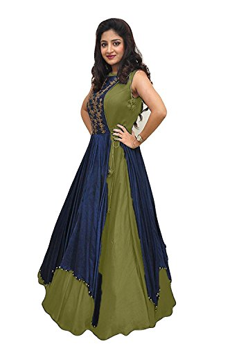 ECOLORS FAB Women\'s Free Size Indo Western Dress ( Indo Westerns_Taffeta Silk_Free Size )