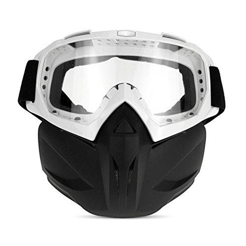 JING Outdoor-Sportarten Anti-Uv Ski Sonnenbrille Ritter Maske Winddicht Brille Cross-Land Anti-Impact Leichte Motorrad Gläser für reiten und Klettern, White Frame transparent Lenses