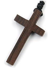 Kreuz Schmuck aus Holz, Kettenanhänger zeitlos natürlich Länge 4,5cm, inkl Textilband