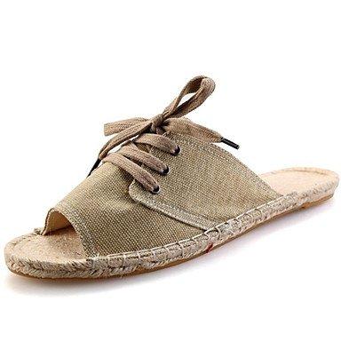Slippers & Primavera Uomo / Estate / Autunno pantofole abito da tela di canapa / casual Heel intrecciata piana Stra sandali US6-6.5 / EU38 / UK5-5.5 / CN38