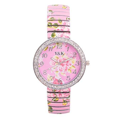 Yaki Modeuhren Analog Quarz Uhr Strass Damen Armbanduhr mit Rosenmuster Zifferblatt Flexibles Armband Rosa