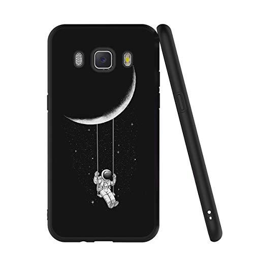Yoedge Cover Samsung Galaxy J7 2016, Sottile Antiurto Custodia Nero Silicone TPU con Disegni Pattern Ultra Slim 360 Protective Bumper Case per Apple Samsung Galaxy J7 2016, Astronauta