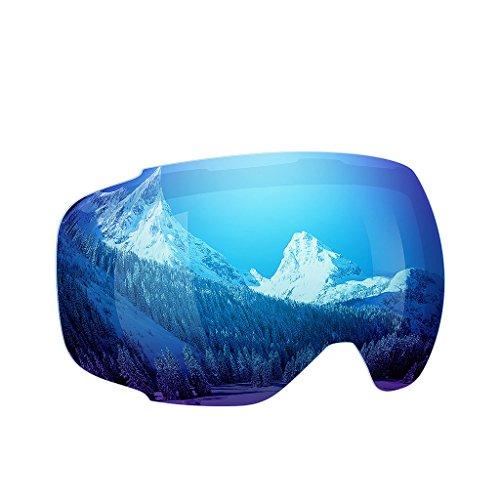 Enkeeo - Lentes Desmontable para gafas de esquí, con 100% UV400 protección para esquiar, Snowboard Patinaje sobre nieve y los Deportes de invierno (Lentes de Repuesto, Azul)
