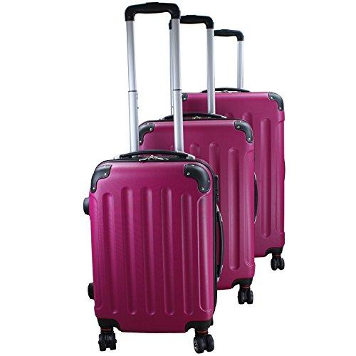 Set di 3 valigie rigidi trolley da viaggio experience 2.0 360° ruote doppie di bb sport set di 3 valigie rigidi trolley da viaggio experience 2.0 360° ruote doppie, colore:pink berry