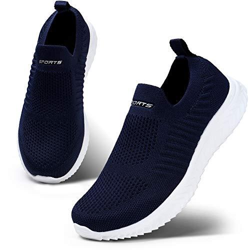 HKR Damen Slip On Sneakers Wanderschuhe Leichte Walkingschuhe Atmungsaktiv Freizeitschuhe Outdoor Gym Bequem Turnschuhe Blau 37 EU