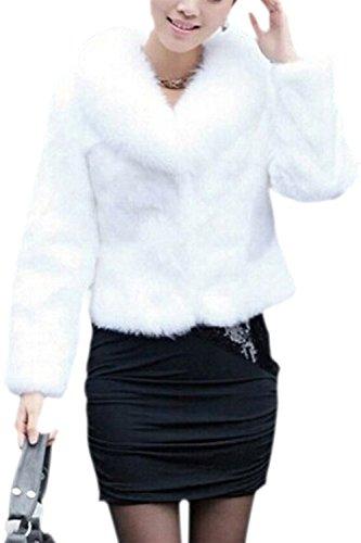 TOOGOO(R)Mujeres Imitacion Vison Pelo Nagymaros Cuello Manga Larga Abrigo Corto Blanco-L