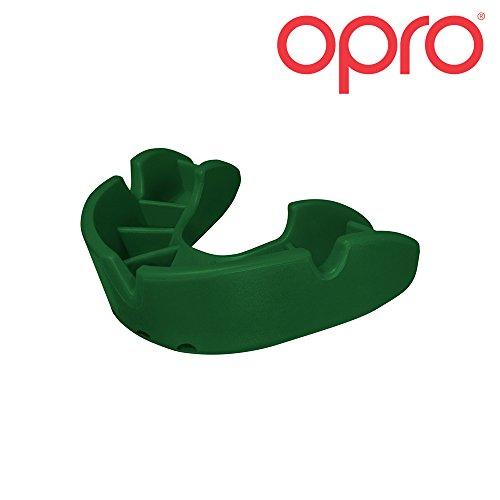 OPRO Mundschutz GEN 3 Bronze Junior - Kinder Zahnschutz für Jungen und Mädchen - selbst anformbar - für Handball, Karate, Rugby, Hockey, MMA - mit Zahnschutzgarantie bis zu einem Wert von 5.500 € - im UK entworfen & hergestellt (Grün)