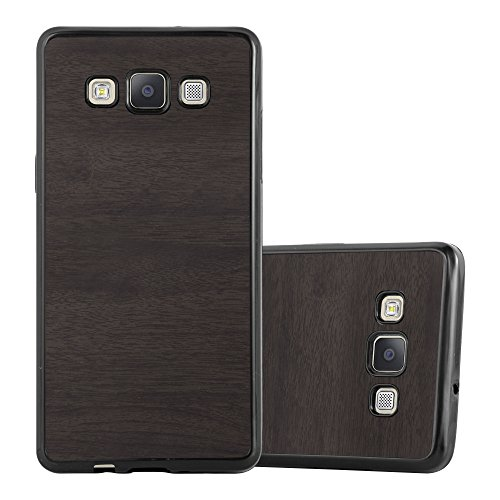 Preisvergleich Produktbild Cadorabo Hülle für Samsung Galaxy A3 2015 (5) - Hülle in Wooden SCHWARZ – Handyhülle aus TPU Silikon in Vintage Holz Optik - Silikonhülle Schutzhülle Ultra Slim Soft Back Cover Case Bumper