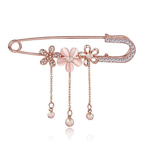 Caolator donna spilla retro fiore strass spilla pin d'oro lega gioielli per sciarpe scialle spille da balia per donne