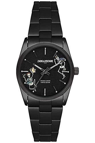 Zadig & Voltaire ZVF417 - Reloj de pulsera de cuarzo, unisex, impreso, 36mm, acero inoxidable, plateado...