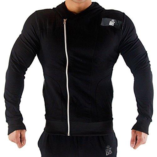 broki Mens GMY Fitness cerniera Felpe con cappuccio-Casual Giacca Outwear Felpa con cappuccio, Zip Up modale Black Medium