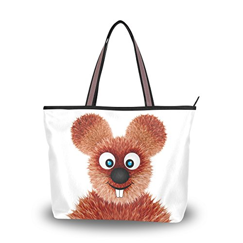 alaza Tote-Schulter-Beutel Lächeln Ratten-Cartoon-Handtasche Groß