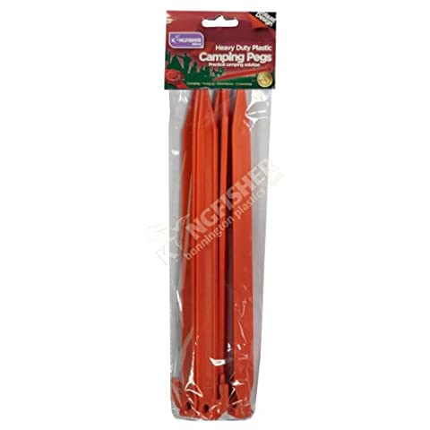 8 Pack Heavy Duty 30cm Plastic Tent Ground Pegs from Kingfisher - 2 sets of 4 pegs