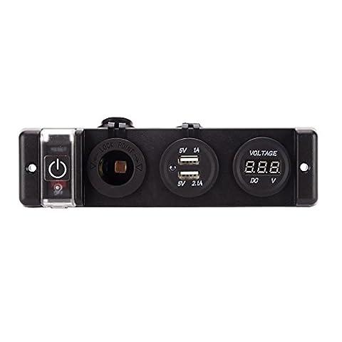 MagiDeal 1 Stk. 12VDC Auto Motorrad Aufladung Zigarettenanzünder Doppelloch USB-Buchse (Elektrische Breaker Ersatz)