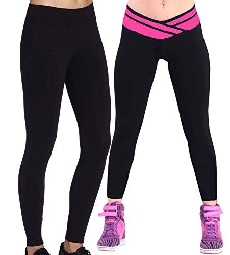 2x Sport Pantalons collant de yoga fitness Pantalon Jogging Sport Noir/Rose+Legging Noir,Taille XL