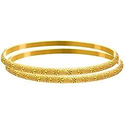 Jfl - Jewellery For Less Traditional Ethnic One Gram Matt Gold Plated Designer Bangle Set For Women