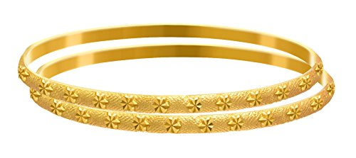 JFL - Traditional Ethnic One Gram Matt Gold Plated Designer Bangle Set for Women & Girls (2.12)