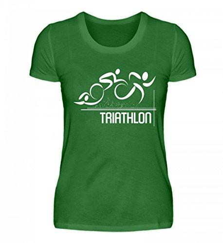 Shirtee Hochwertiges Damen Organic Triathlon Kelly Green