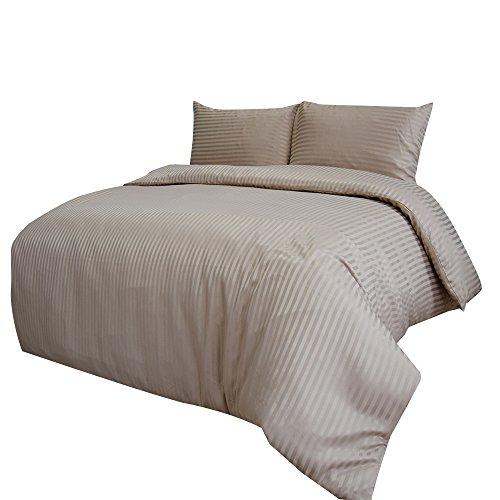 Merryfeel 2-3 teilige Satin Bettwäsche Bettgarnitur, gestreift Mikrofaser Bettbezug & Kissenbezüge,4 Größen,14 Farben - Khaki 200x200cm