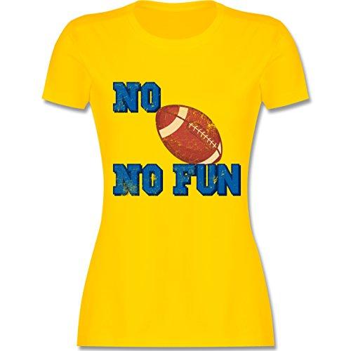 Shirtracer Sonstige Sportarten - No Football No Fun Vintage - Damen T-Shirt Rundhals Gelb