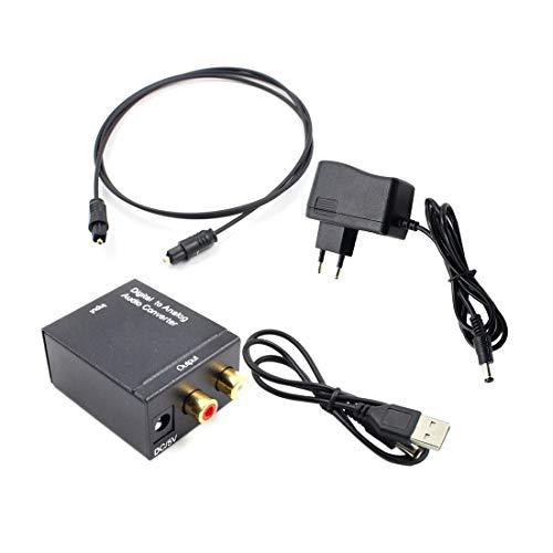 Adaptador convertidor de Audio Toslink óptico y coaxial R/L Coaxial óptico Digital para convertidor analógico de Audio RCA con Cable de Fibra