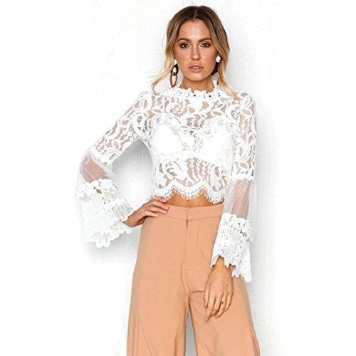 QinMM Blusa Corta de Encaje Mujer, Camiseta Transparente Camisa de Manga Larga Tops (Blanco, XL)