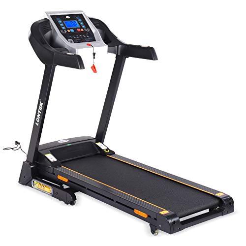 LONTEK Laufband mit 12 Programmen LCD Bildschirm Dämpfungssystem Klappbar Treadmill DC Motor Schwarz 14km/h 15% automatisch Steigung Bluetooth USB MP3