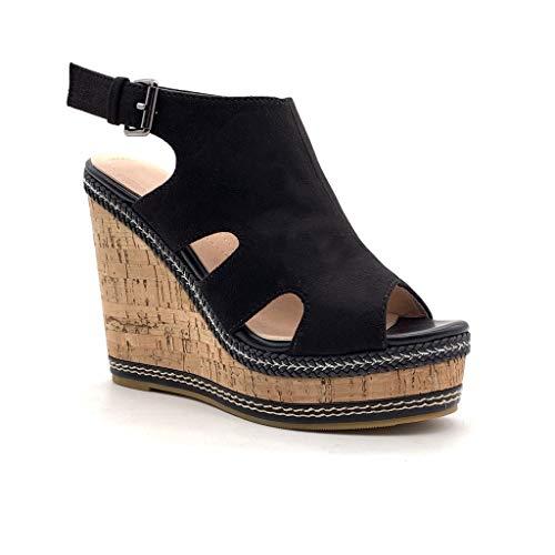 Angkorly - Damen Schuhe Sandalen Mule - Classic - Vintage/Retro - Plateauschuhe - mit Stroh - Kork Keilabsatz high Heel 12 cm - Schwarz MK573 T 39 -