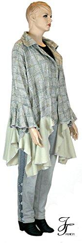 JT Fashion Jelle Töverie GRAF Mantel Jacke Lagenlook Volant Plussize L XL XXL Wolle Rüsche Barock OneSize 00356