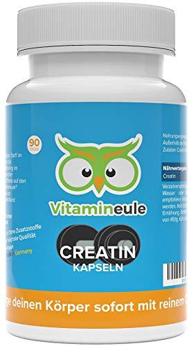 Creatin Kapseln hochdosiert mit 450mg Creatin Monohydrat - Qualität aus Deutschland - ohne Zusatzstoffe - reines Creatin-Monohydrat für Muskelaufbau & Training - Vitamineule®
