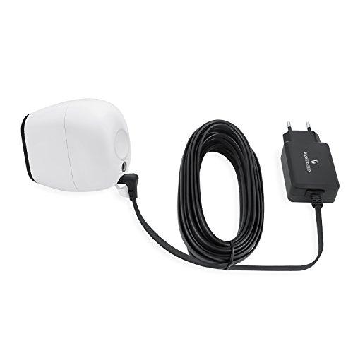 Langer (5 m), wetterfester Quick Charge 3.0 Adapter für Arlo Pro, Arlo Pro 2 von Wasserstein, mit extra dünnem Ladekabel (Outdoor Wandladegerät, schwarz)