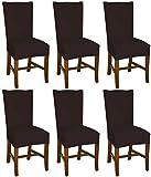 Bellboni Stuhlhussen braun, 6er Pack, hochwertige Stuhlbezüge, Stuhlüberzüge, passend für viele Stuhlgrößen elastisch, bi-Elastic