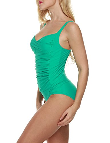 Ekouaer Monokini Badeanzug Damen Einteiler Tankini Schwimmanzug für Damen Figuroptimizer Strand Bademode Grün