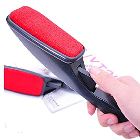MML 2PC Set Reusable Sticky Buddy Picker Cleaner Lint Roller Pet Hair Remover Brush (red)
