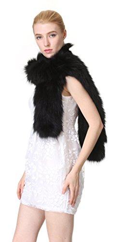 vogueearth Mujer'Real De Punto Zorro Pelaje Invierno Más Cálido Largo Bufanda Fular Mantón Negro