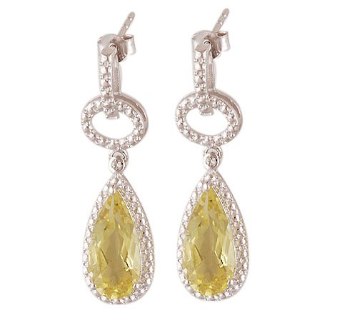 Lemon Topaz, White Topaz Silver Earring With 925 Silver Purity Seal